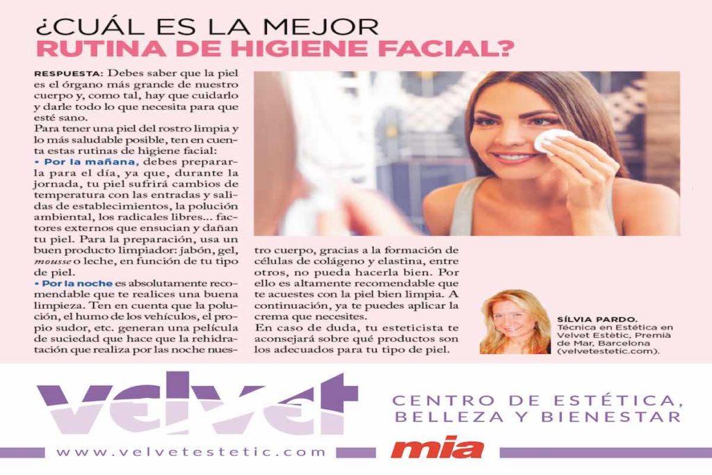 rutina de higiene facial